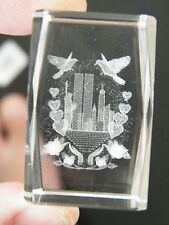 NEW YORK CITY 911 CRYSTAL Cube Laser Engraved Heart 1970s World Trade Center NEW