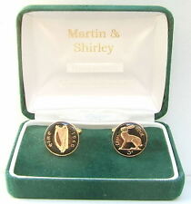 Threepence coins in Black & Gold 1946 Irish Cufflinks made from old Ireland