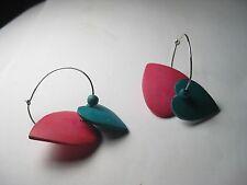 Vintage 1970's/80's Silvertone Hoop Pierced Earrings & Teal/Pink Wooden Hearts