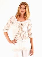 Hale Bob Cotton Crochet Top | Beaded Tunic Black Ivory XS S NWT 2STS2916 *