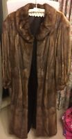 Vintage Real Fur Coat Brown Ankle Length Size 14-16 No Size Tag