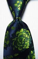 New Classic Floral Dark Blue Green JACQUARD WOVEN 100% Silk Men's Tie Necktie