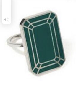 Jennifer Kellogg Tromp I'oeil Emerald  enamel ring