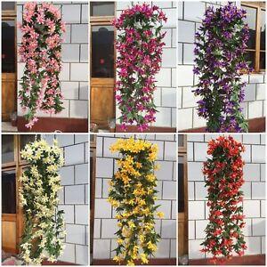 A Bunch Artificial Flower Lily Bracket Hanging Garland Vine Home Wedding Decor