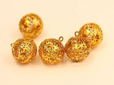 1 pcs 18k gold filigree ball bead charm  #b4