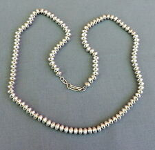 """New Navajo Handmade Sterling Silver Saucer Bead Necklace 26"""""""