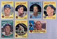 1959, 60 Topps Baseball Lot of 7 Different Cards EX Condition