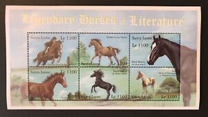SIERRA LEONE 2001 MNH LEGENDARY HORSES OF LITERATURE STAMPS SHEET 6 BLACK BEAUTY