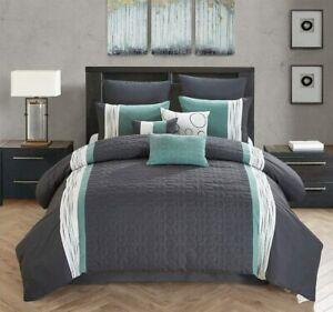 All American Collection New 7 Piece Embroidered Over-Sized Comforter Set (King,