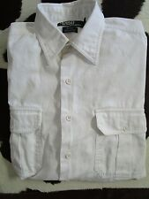 POLO RALPH LAUREN 'ELVIN' Patch Pocket White Chino Chores Sport Shirt Size M
