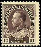 Canada #116 mint F OG LH 1912 King George V 10c plum Admiral CV$120.00