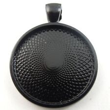 8pcs Black Tone Alloy Round Cameo Setting Base Tray Pendant Charms Jewelry 09077