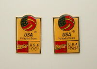 2  USA Olympic Volleyball Team Coca-Cola Coke Sponsor Pin NOS New