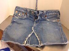 True Religion Blue Denim Distressed Mini Skirt Frayed Hem. Sz 28