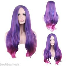 Women Gradient ombre Purple Pink Wavy Long Wigs Synthetic Cosplay Party Full Wig