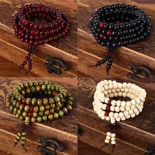 8mm 108 Beads Natural Sandalwood Buddhist Buddha Wood Prayer Bead Mala Bracelet