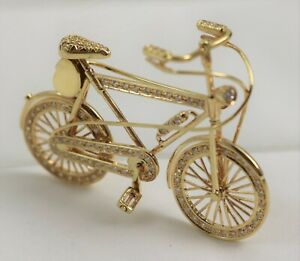 Vintage 18K Yellow Gold Diamond Articulated Bicycle Brooch/Pin