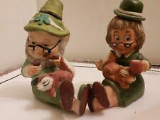 Irish Elf-Ireland Pixie Old Leprechaun Couple Set.Bottle Cork.