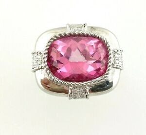 Natural Diamond and Pink Onyx Ring in Sterling Silver Sz 7  #39