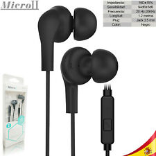 Auriculares Universales Negro c/ Micrófono1.2 mts Cascos IOS Android Jack 3.5mm
