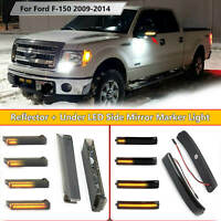 Smoked Lens Reflector +Under LED Side Mirror Marker Light For Ford F-150 2009-14