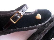 Girls Shoes Size 5 Cradle Jumpers Black Velvet Heart Dressy Mary Jane USA