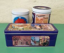 LOT OF 3 VINTAGE CADBURY TINS CONFECTIONERY BISCUITS COCOA