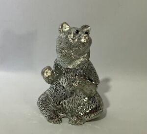 Christofle Lumiere D'Argent Bear - Pierced Silver Plated Bear, Vintage
