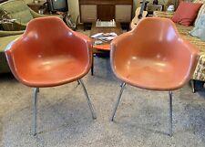 2 MCM Krueger Fiberglass Shell ArmChairs Orange Chrome Legs Vintage Eames Pair
