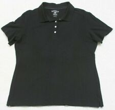 Lee Riders Cotton Spandex Polo Shirt Top Woman's Large Solid Short Sleeve Black