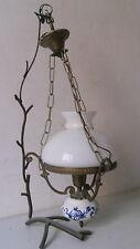 LAMPE LAMP PORCELAIN OPALINE BLANCHE ELECTRIFIE 1900 STYLE ABAT-JOUR COMPATIBLE