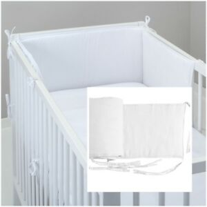 COT BUMPER padded filled straight for cot / cot bed WHITE UNISEX BOY GIRL