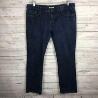 CAbi #175 Womens Brando Indigo Wash Jeans Size 16 Straight Leg Dark Wash
