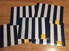 NWT Kohls Set of 5 Navy Blue & White Striped Vinyl Indoor/Outdoor Placemats