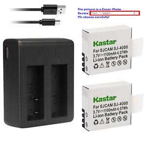 Kastar Battery Dual USB Charger for SJCAM SJ4000B SJ4000 & SJCAM SJ9000 Camera