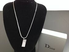 Auth CHRISTIAN DIOR Necklace Pendant pink Plate Logo 5E261313