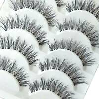 Beauty 5 Pairs Makeup Handmade Natural Long False Eyelashes Stipe Eye Lashes Lot