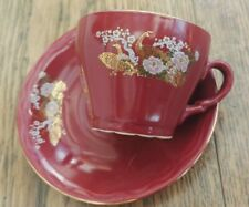 More details for red and gilt amsel coffee cup & saucer chinese design peacock lotus. free post