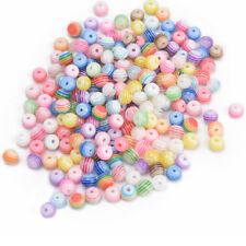 200PCS 6mm Mixed Striped Round Charm Spacer Loose Beads Craft Jewelry Making JR