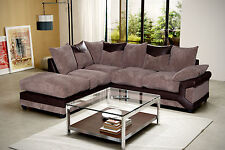 Modern Comfy Large Dino Left Hand Fabric Corner Sofa In Brown & Mocha Colour