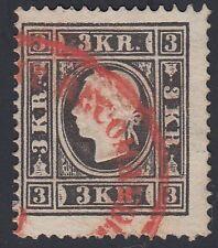 Ö 1858 3 Kreuzer roter Reko Stempel Befund VÖB