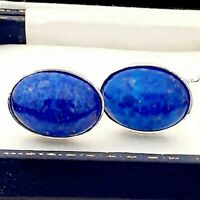 Stunning Vintage 1950s Lapis Lazuli Blue Glass - Oval Silver Plated Cufflinks