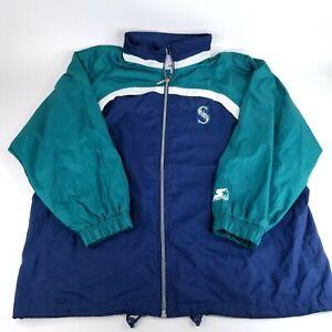 Vintage Starter Seattle Mariners Men's 2XL Full Zip Hidden Hood Windbreaker