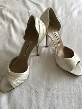 New Manolo Blahnik White Open Toe High Heel Pump Shoe SZ 40.5
