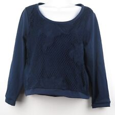 Women's Long Sleeve Floral Mesh Lace w/ Lining Casual Blouse Top Blue Size M New