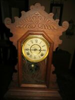 Antique Waterbury Clock Co Gingerbread Kitchen Parlor  Gong Clock Needs Work