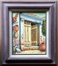 "Vintage Mexican House with Hanging Pots By Door Signed Jaime - Frame 18"" x 21"""