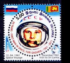 Odd, Round Shape Stamp, Gagarin, Space, Flags, Srilanka MNH