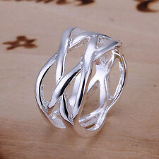 HOT 925 sterling Solid silver Plated fishnet rings Size7 #173