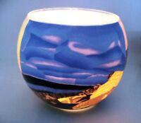 Teelichtglas Nordic Sunset, Cup, leuchtende Farben, Strand, maritim, Höhe 9cm